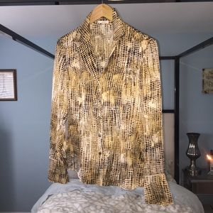 EUC Escada 36 Brown Gold Animal Print SilkStretch